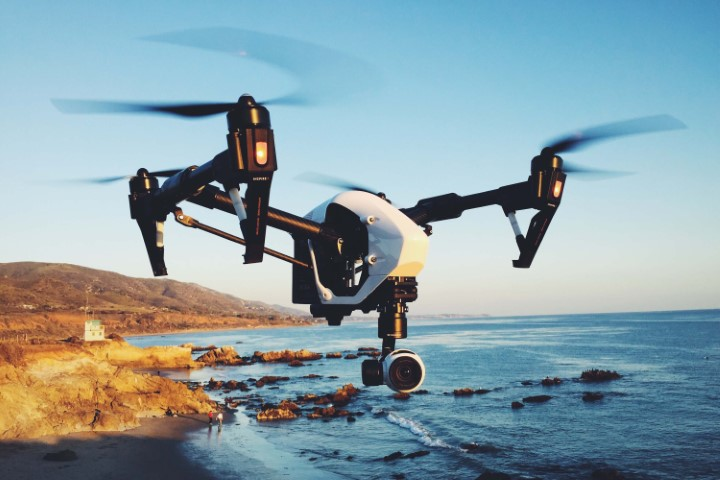 DJI inspire 2 drone hovering above the sea